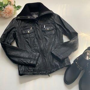 Genuine leather black jacket size S